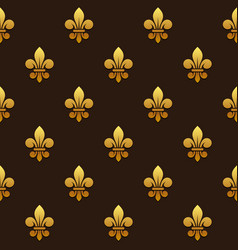Golden fleur de lis seamless pattern vector