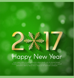 Golden new year 2017 concept on green blurry vector