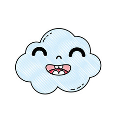 Grated happy and cute cloud kawaii weather vector