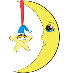 Half moon and star cartoon vector image