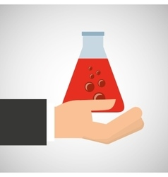 Hand holding medical tube research vector