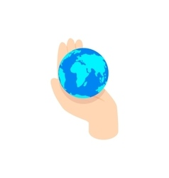 Hand holding the earth icon isometric 3d style vector