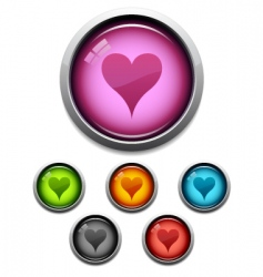 heart button icon vector image vector image