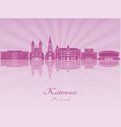 Katowice skyline in purple radiant orchid vector