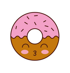 kawaii donut dessert pastry product food fresh vector image
