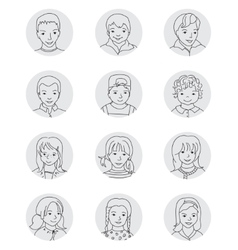 Kid avatar set thin line vector