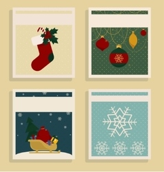 Merry Christmas and Happy New Year Set Of Card vector image vector image