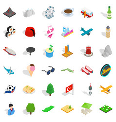 Miami landmark icons set isometric style vector