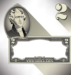 Miscellaneous two dollar bill elements vector