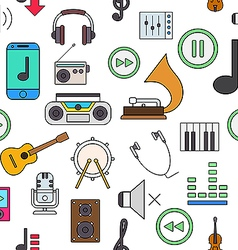 Music colorful pattern icons vector image vector image