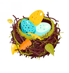Nest with colorful eggs and dry leaves vector