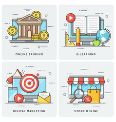 online banking e-learning digital marketing vector image vector image