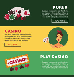 play casino and poker promotional internet posters vector image vector image
