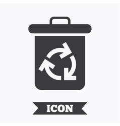 Recycle bin icon Reuse or reduce symbol vector image vector image