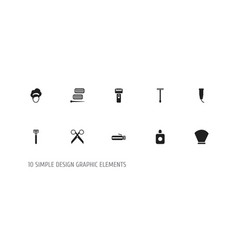 set of 10 editable barber icons includes symbols vector image vector image