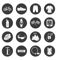 Set of icons isolated on cycling vector