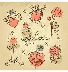 Set of sketch hearts vector image vector image