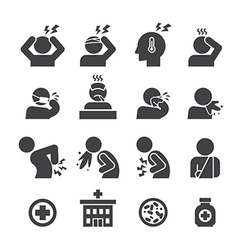 sick icon set vector image