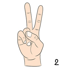 Sign language number 2 vector image vector image