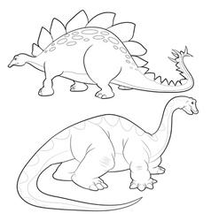 Stegosaurus apatosaurus lineart vector