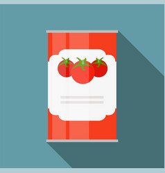 tomato sauce soup can template in modern flat vector image