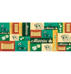Travel and tourism icons macau vector
