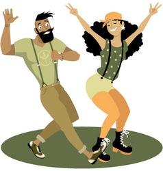Trendy couple dancing vector