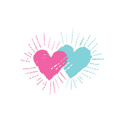 two hearts with shining beams love sign vector image vector image