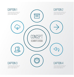 User outline icons set collection of undo vector