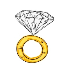 Gold ring with big diamond vector