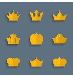 Gold crown set vector image