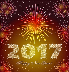 Red new year 2017 fireworks vector
