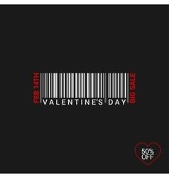 Valentines day bar code logo background vector
