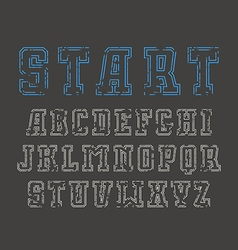 Double contour serif font in sport style vector