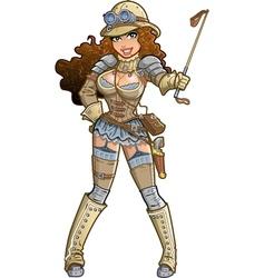 Sexy Steampunk Explorer vector image