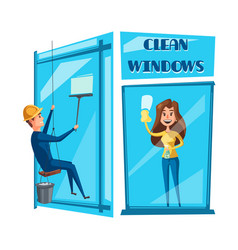 window cleaning cartoon icon set design vector image