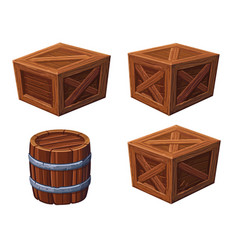 Barrel and boxes on white background vector