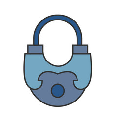 Padlock flat colored icon of lock isolated on vector