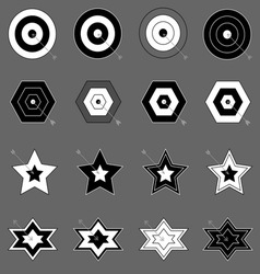 Create target and arrow icons on gray background vector