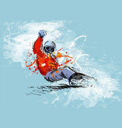 Colored hand sketch snowboarder vector