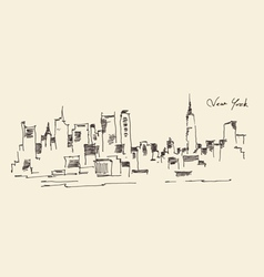 New york city engraving hand vector