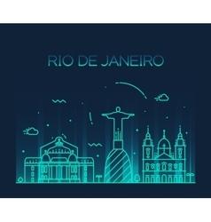 Rio de janeiro city skyline trendy line art style vector