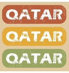 Vintage qatar stamp set vector