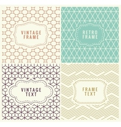 Retro mono line frames with place for text vector