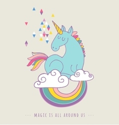 Cute magic unicon and rainbow poster card vector
