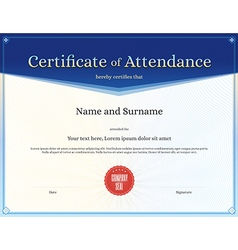 Certificate of attendance template blue vector