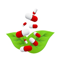 Pills falling on leaves vector