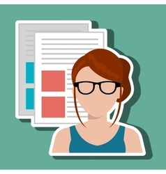 Woman with text files isolated icon design vector