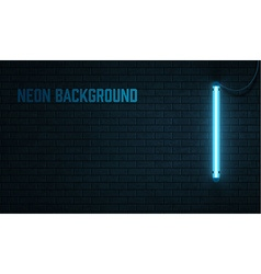 blue neon lamp isolated on black brick wall vector image