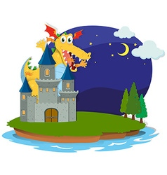 Castle and dragon on the island vector